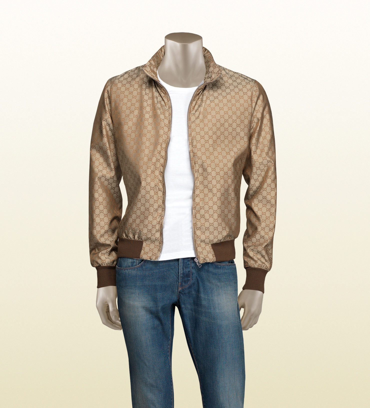 Lyst - Gucci Gg Pattern Nylon Jacket in Brown for Men 08424392f