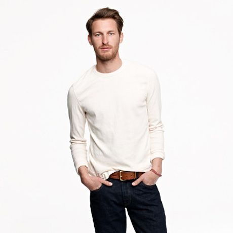J.crew Crossknit Long Sleeve Tee in White for Men (mountain white) - Lyst