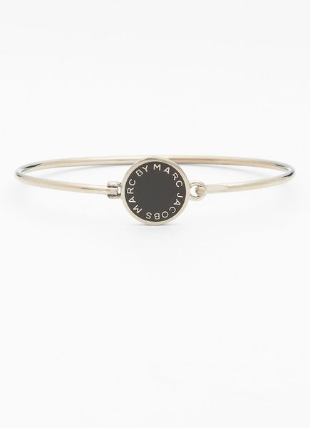 Marc By Marc Jacobs Classic Marc Disc Skinny Bangle in Black (black/ silver) - Lyst