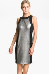 Michael by Michael Kors Metallic Panel Sheath Dress - Lyst