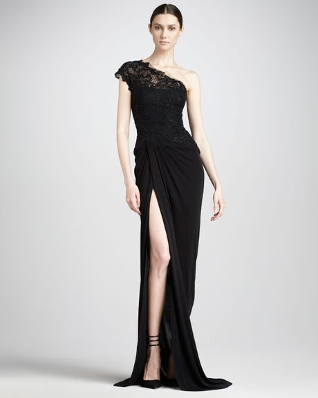 Monique Lhuillier Lace Bodice Jersey Gown in Black (noir) - Lyst