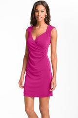 Nicole Miller Surplice Ruched Jersey Sheath Dress - Lyst