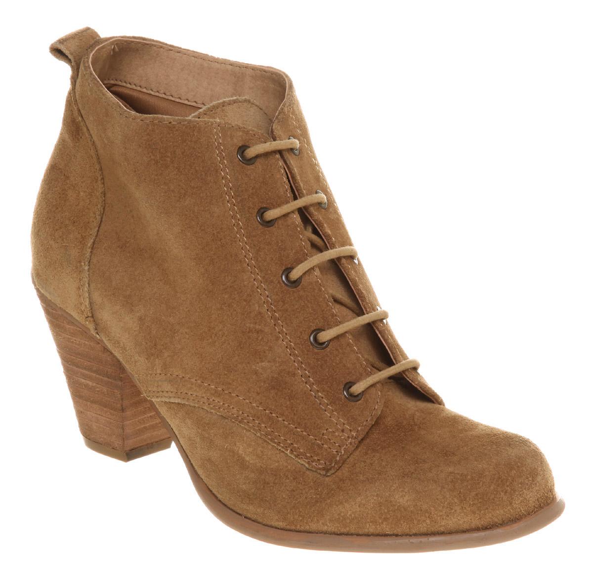 office kurtis lace up boot beige suede in beige lyst