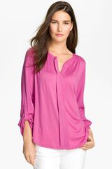 Pleione Split Neck Mixed Media Top - Lyst