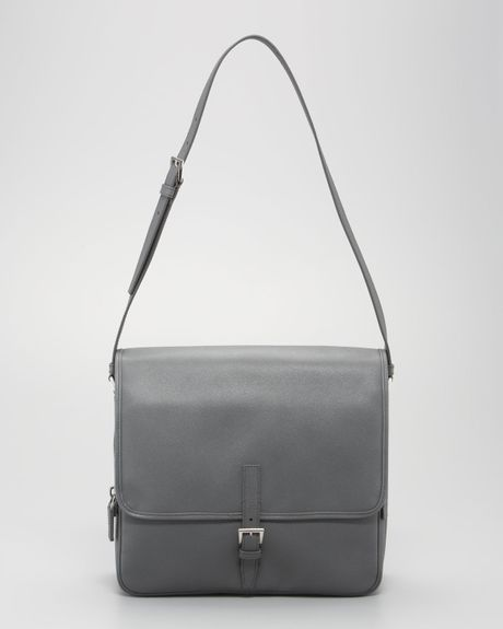 Prada Saffiano Small Messenger in Gray for Men