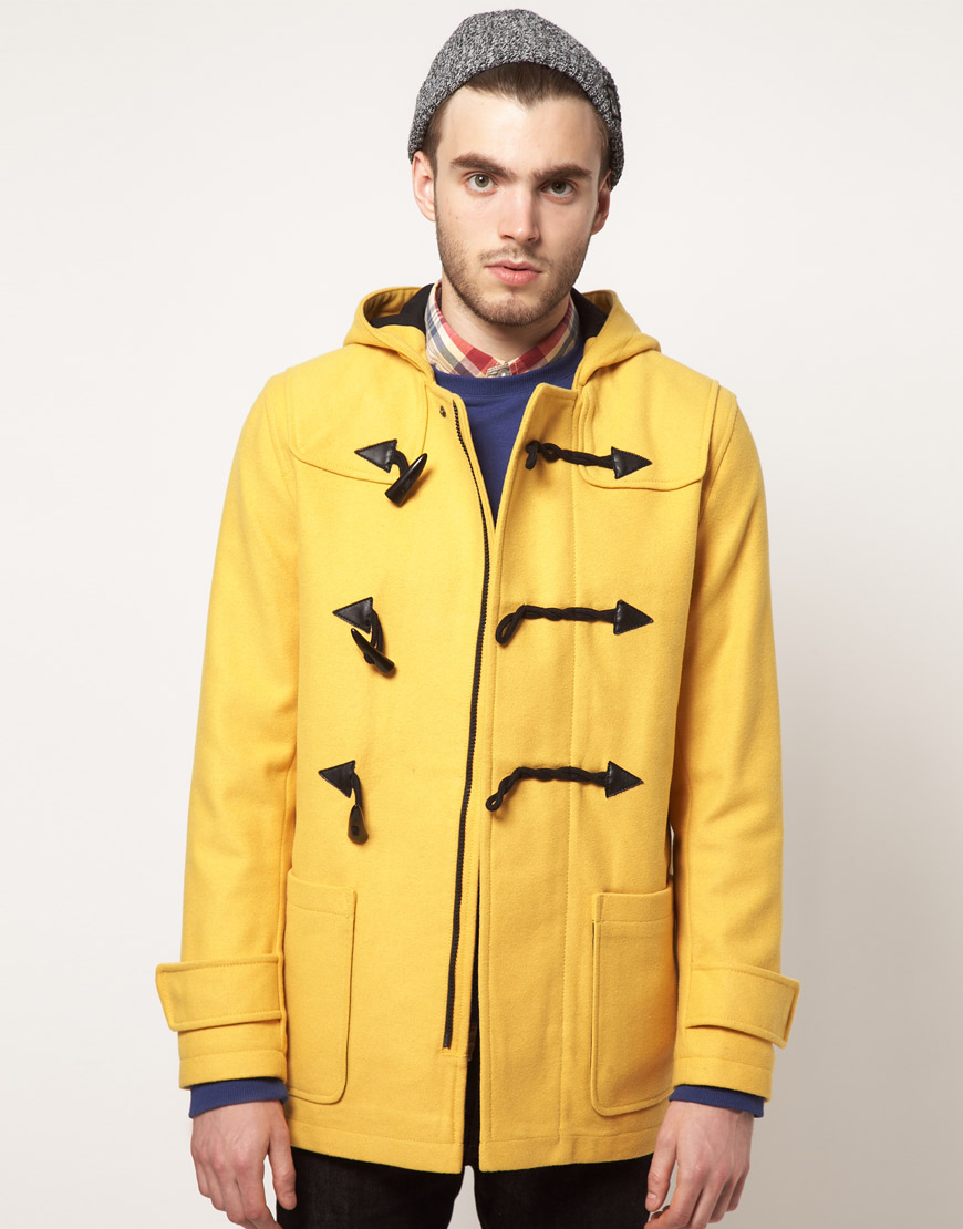 Asos Duffle Coat in Yellow for Men | Lyst