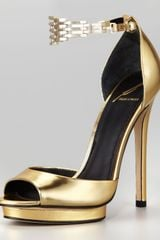 B Brian Atwood Cassise Metallic Leather Chainstrap Sandal - Lyst