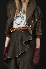 Burberry Prorsum Oversize Lapel Bomber Jacket in Brown (kale) - Lyst