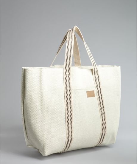 Chlo 233 Woven Straw Tote Bag In White Lyst