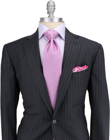 Shirt and tie suggestions for my first pinstripe suit for Charcoal suit shirt tie combinations