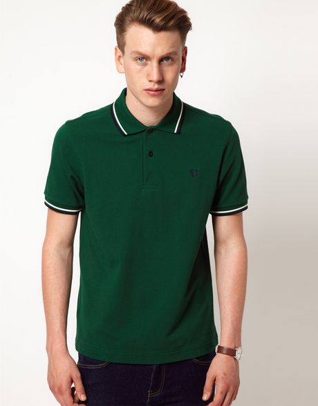 fred perry polo slim fit twin tipped in green for men lyst. Black Bedroom Furniture Sets. Home Design Ideas