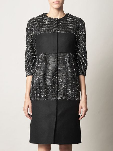 Giambattista Valli Metallic Tweed Coat in Black - Lyst