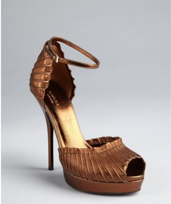 Gucci Brown Leather Taryn Ankle Strap Platform Sandals - Lyst