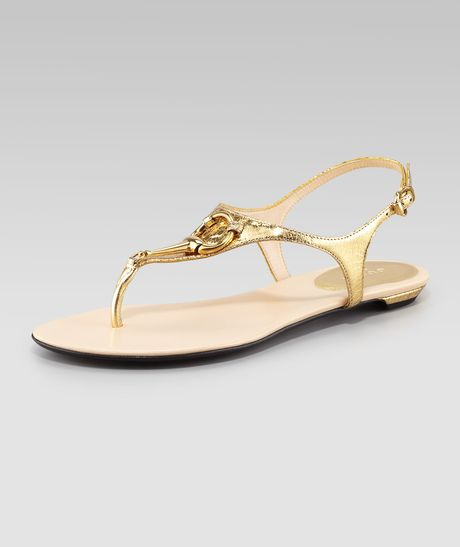 Gucci Bit Flat Thong Sandal in Gold - Lyst