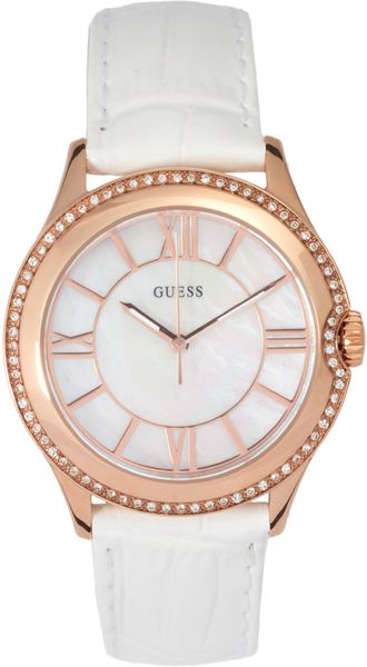 Guess Moonbeam Mother Of Pearl Buckle Watch - Lyst