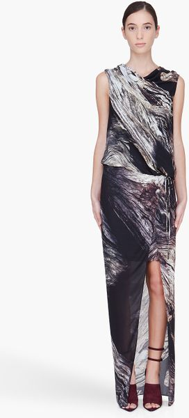 Helmut Lang Long Driftwood Print Dress in Black - Lyst