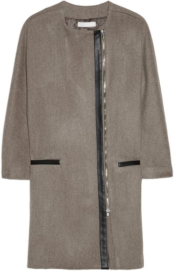 Kain Orelia Leather Trimmed Wool Coat - Lyst