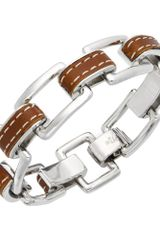 Lauren By Ralph Lauren Silver Tone Leather Link Bracelet in Brown (silver) - Lyst