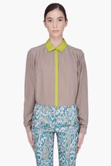 Matthew Williamson Taupe Pleated Silk Blouse - Lyst