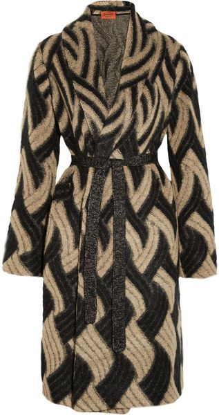 Missoni Patterned Mohair Blend Cardi Coat in Beige (sand) - Lyst