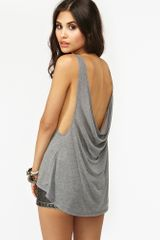 Nasty Gal Double Scoop Tank Gray