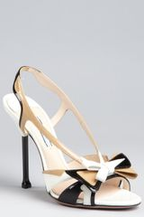 Prada White and Sand Patent Leather Cutout Slingback Sandals in Beige (white) - Lyst