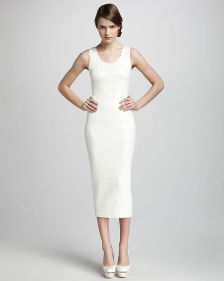 Robert Rodriguez Slim Sequined Dress in White - Lyst