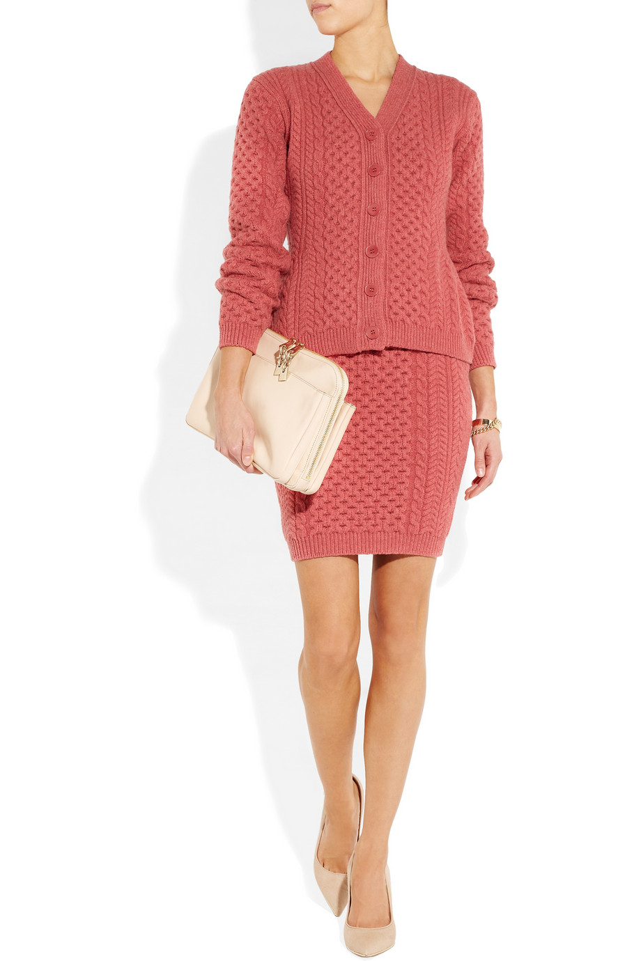 Stella mccartney Cable Knit Wool Skirt in Red