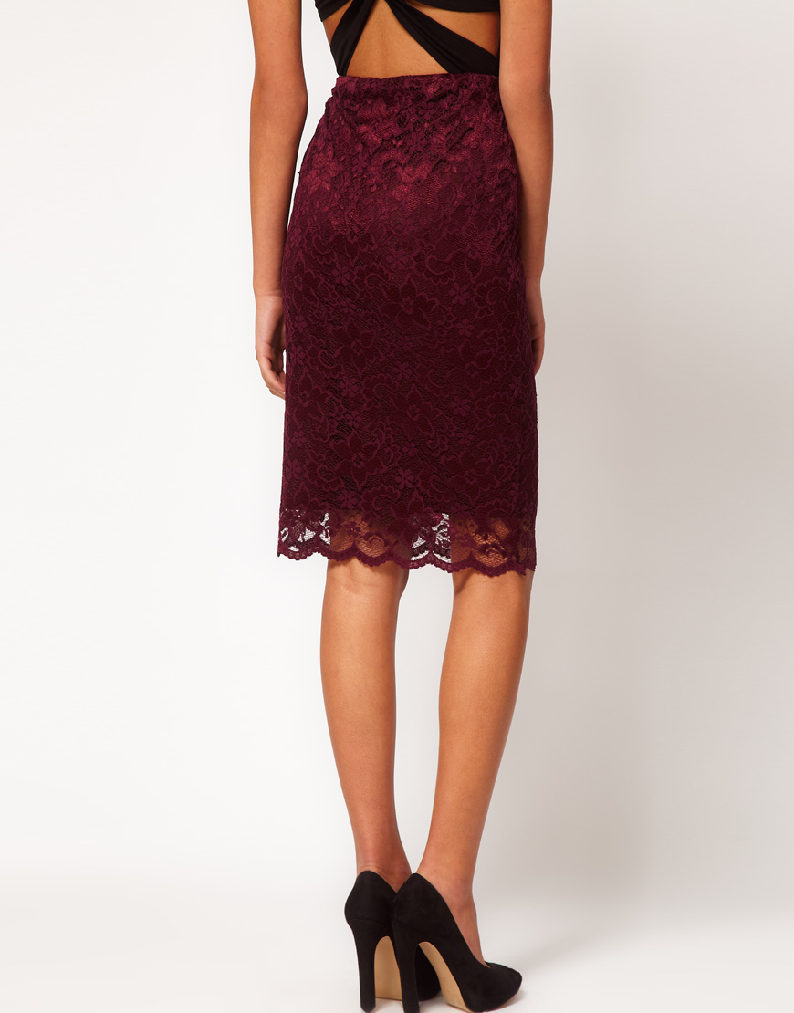 asos collection pencil skirt in lace with scallop hem in