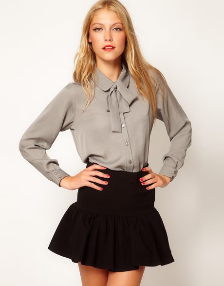 Asos Collection  Blouse with Skinny Tie Detail in Gray (grey) - Lyst