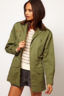 ASOS Collection  Army Jacket with Detachable Fur Trim - Lyst