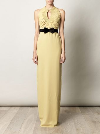 Burberry Prorsum Ruched Keyhole Fulllength Dress - Lyst