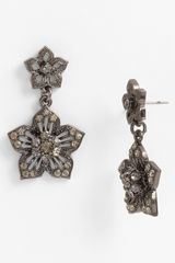 Cara Accessories Double Flower Drop Earrings - Lyst