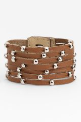 Cara Accessories Sliced Leather Studded Bracelet - Lyst