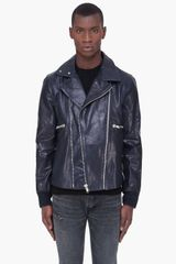 Diesel Black Gold Midnight Blue Leather Jacket - Lyst