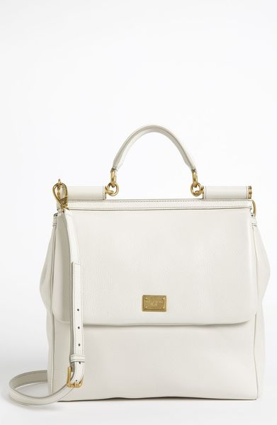 Dolce & Gabbana Flat Miss Sicily Large Leather Satchel in White (bianco) - Lyst