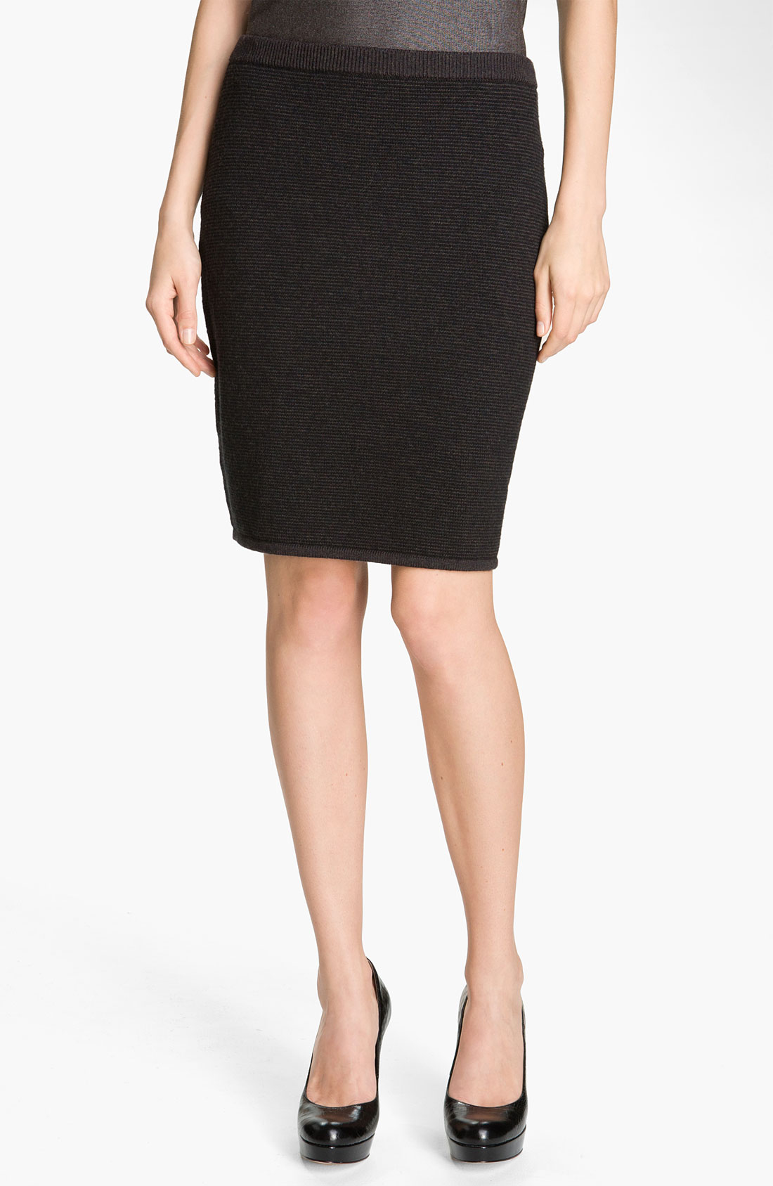 Eileen Fisher Knit Pencil Skirt in Gray (charcoal) | Lyst
