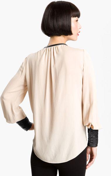 Zara Leather Trim Blouse 22