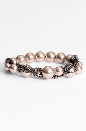 Givenchy Glass Pearl Chain Stretch Bracelet - Lyst