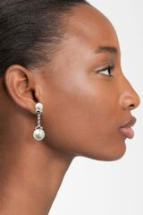 Givenchy Glass Pearl Chain Earrings in White (white pearl/ silver) - Lyst