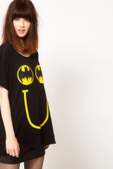 Lazy Oaf X Batman Oversized Tshirt in Happy Bat Print in Black (multi) - Lyst
