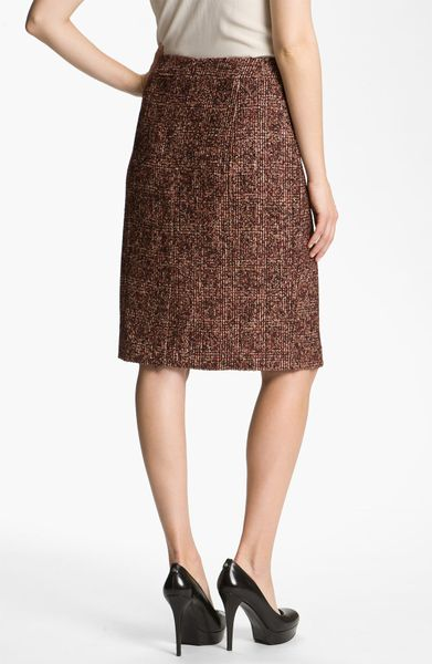 nordstrom collection cambon tweed pencil skirt in brown