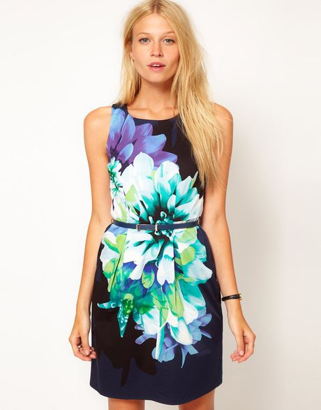 Oasis Floral Print Lantern Dress in Multicolor (multi) - Lyst
