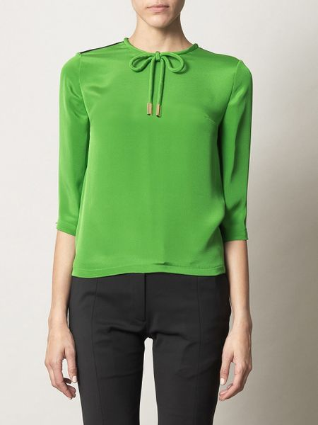 Preen Bicolour Blouse in Green - Lyst