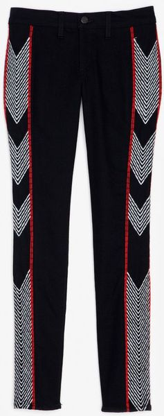 Rag & Bone Midrise Embroidered Skinny Jeans in Black - Lyst