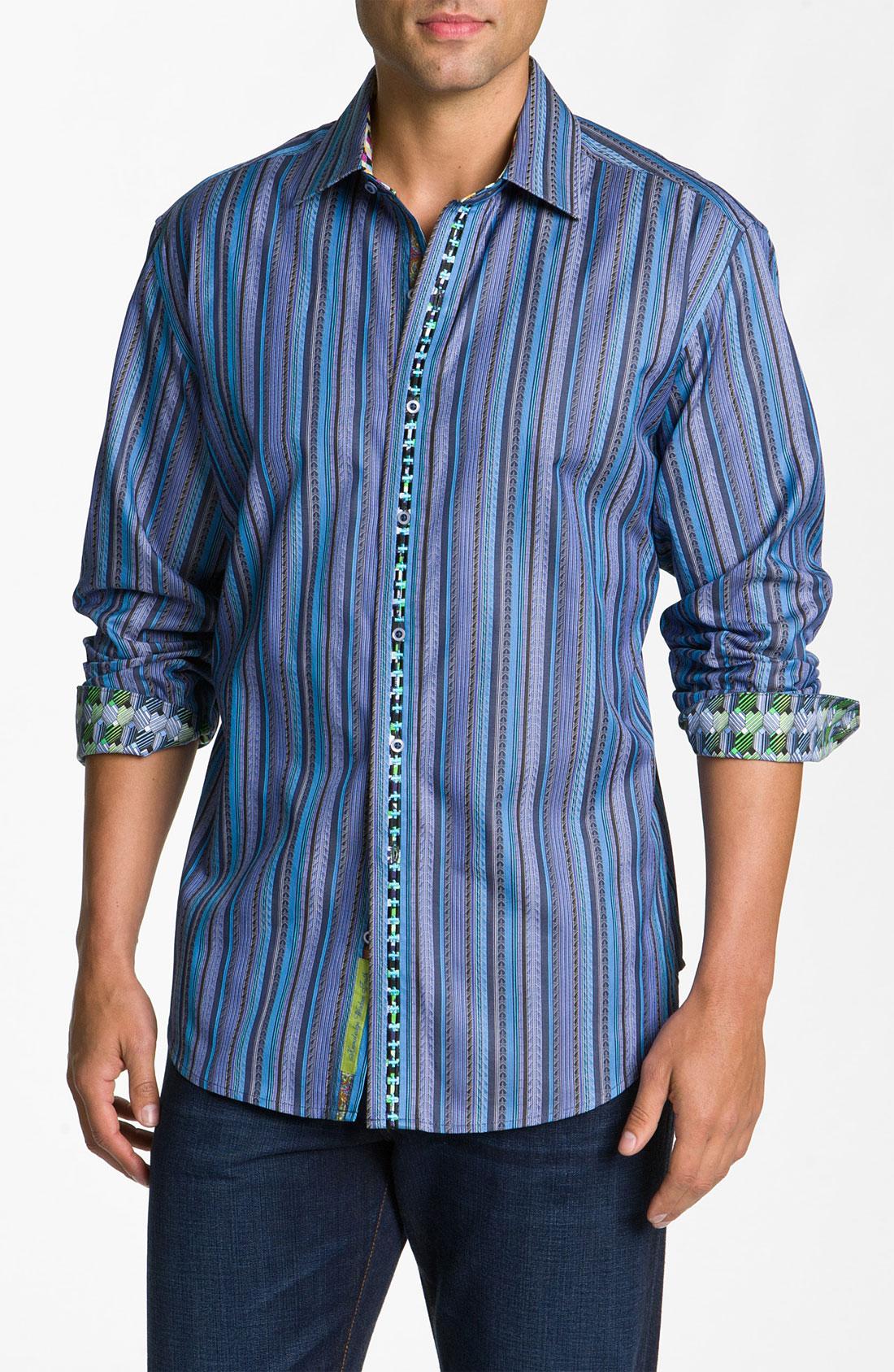 Robert graham melrose abbey woven shirt in blue for men lyst for Robert graham sport shirt