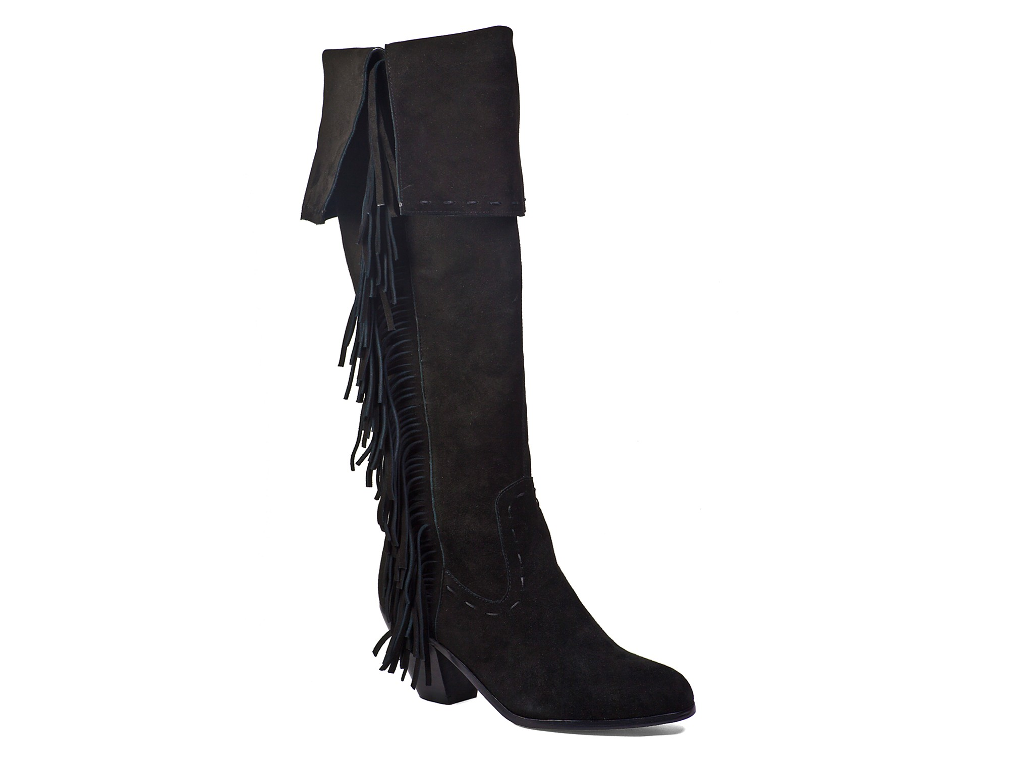 d43601b9f9a Sam Edelman Luella Fringe Over The Knee Boots in Black - Lyst