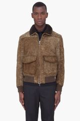 Yves Saint Laurent Olive Grey Shearling Jacket - Lyst