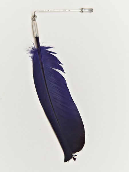 Ann Demeulemeester Feather Pin in Blue