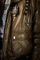 Burberry Prorsum Cropped Leather Bomber Jacket in Green (olive green) - Lyst